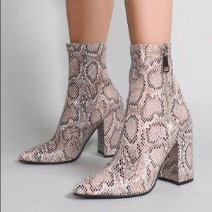 Snake Skin High Ankle Bootie